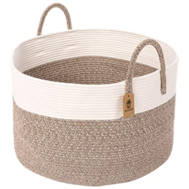 INDRESSME Cotton Rope Basket | Extra Large Woven Hamper Basket with Handles Nursery Storage Baby Laundry Basket Rope Storage Bin for Organizer Toys, Pillow 20 D x 13 H