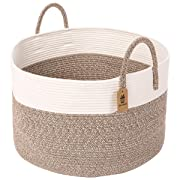 INDRESSME Cotton Rope Basket | Blanket Basket | Extra Large Woven Hamper Basket with Handles Nursery Storage Baby Laundry Basket Rope Storage Bin for Organizer Toys, Throw, Pillow 20 D x 13 H
