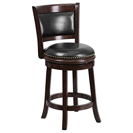 Flash Furniture 24u0027u0027 High Cappuccino Wood Counter Height Stool With Black  Leather Swivel Seat