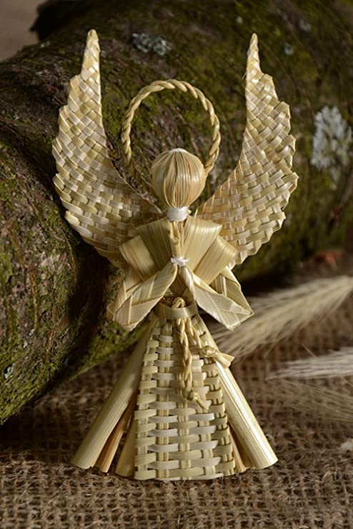 Amazoncom Handmade Woven Straw Wall Hanging Guardian Angel Home