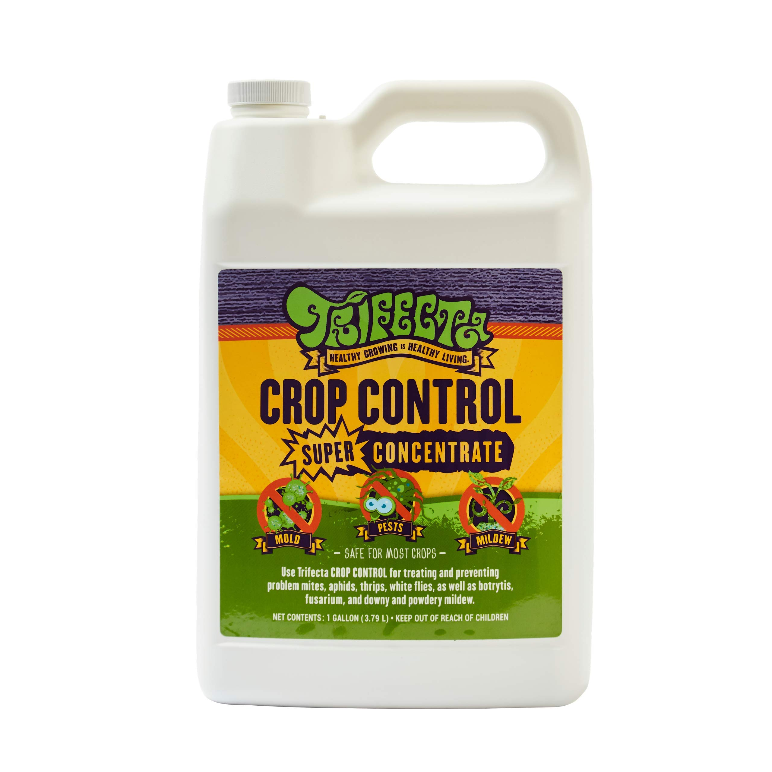 Trifecta Crop Control - Super-Concentrate - All-in-ONE Natural Pesticide, Fungicide, Miticide, Insecticide, Eliminate Spider Mites, Powdery Mildew, Botrytis, Mold Non-Toxic 128oz Gallon by Trifecta
