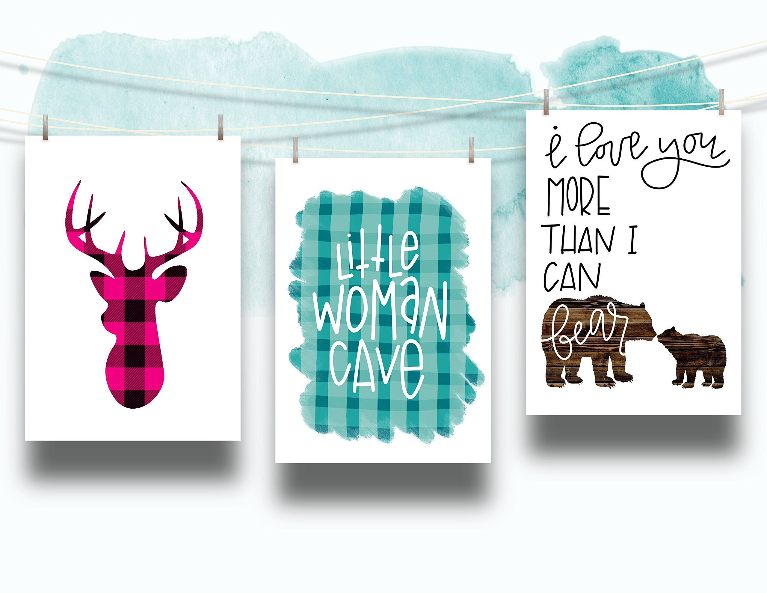 Three Piece Nursery Cardstock Prints 8.5 x11 Pink and Teal ''Woodland Animals'' by June & Lucy