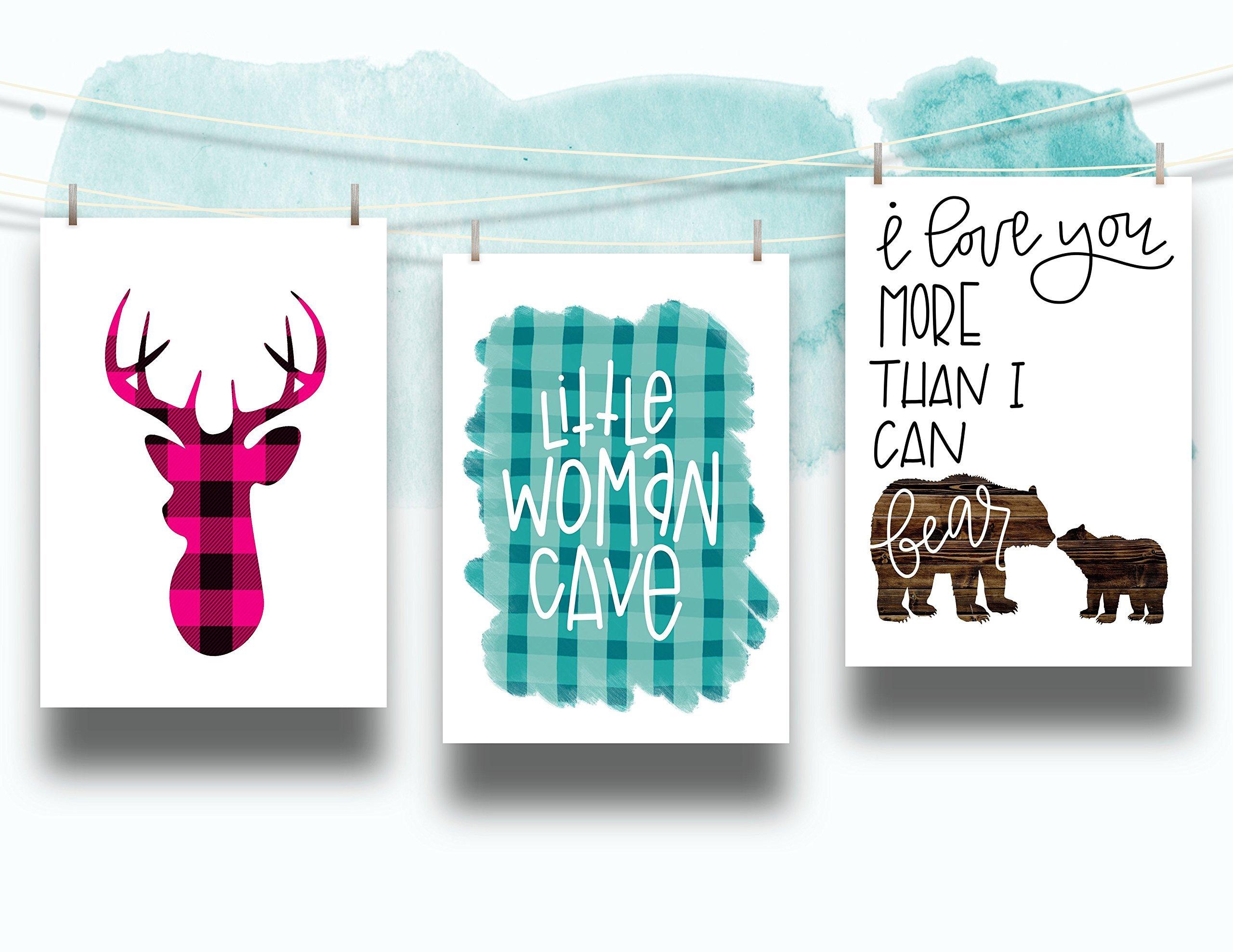 Three Piece Nursery Cardstock Prints 8.5 x11 Pink and Teal ''Woodland Animals''