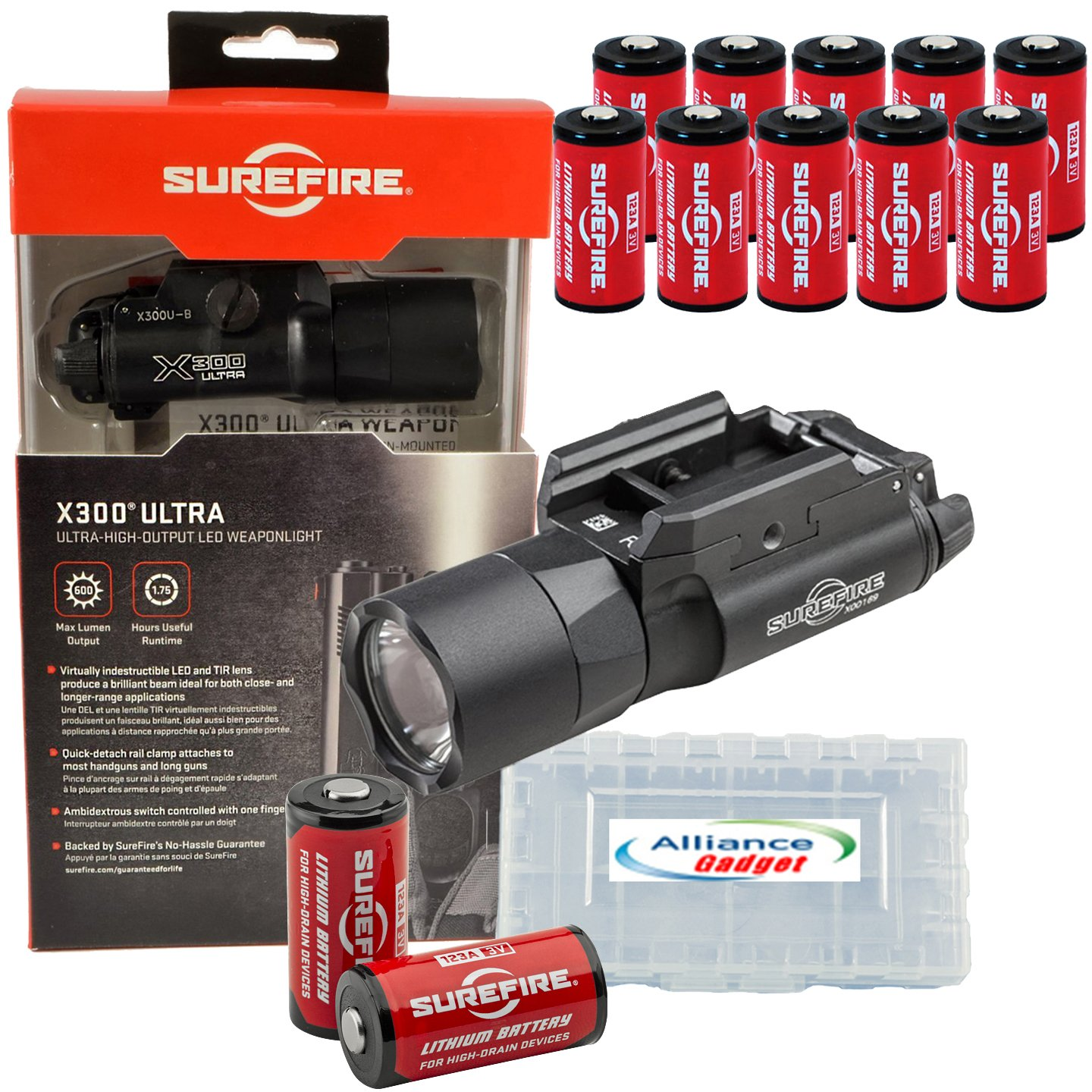 SureFire X300 Ultra X300U-B High Output 600 Lumen LED WeaponLight Black with 12 extra CR123A Batteries and 3 Alliance Gadget Battery Cases by SureFire