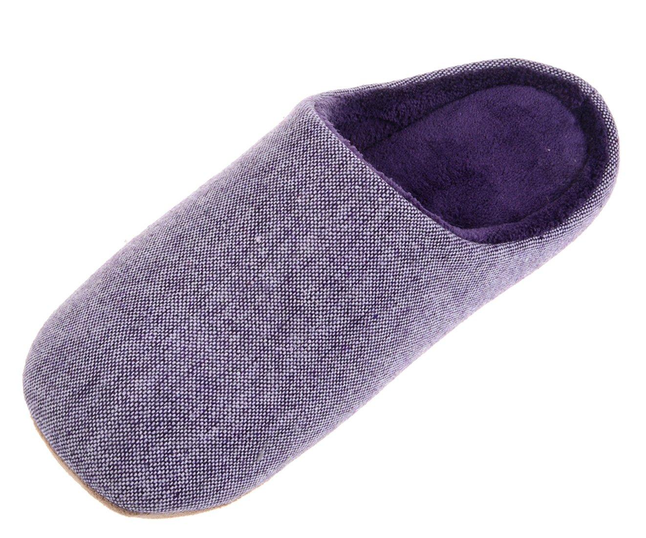 Bronze Times(TM) House Slippers,Womens Coral Fleece Memmory Foam Indoor Footwear,purple,M