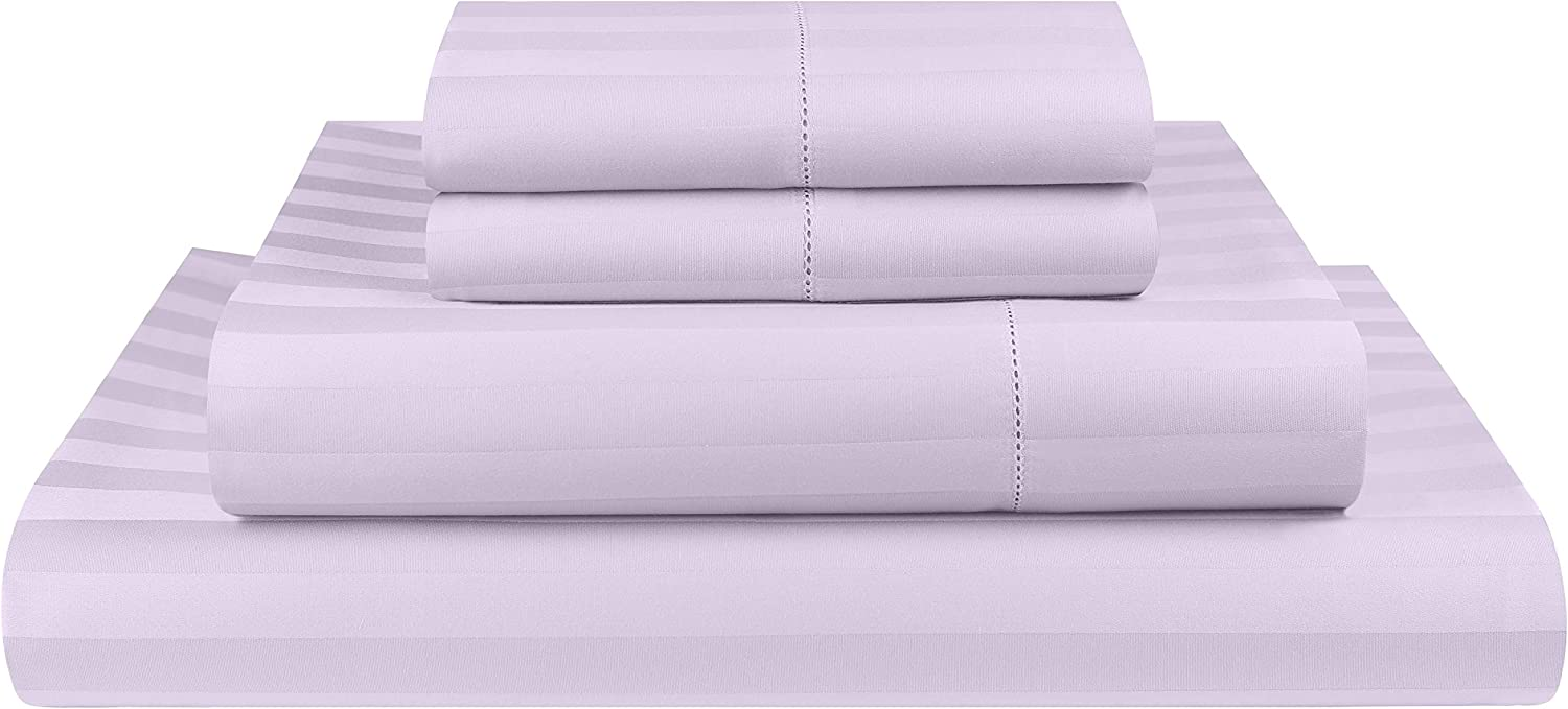 Threadmill Home Linen 500 Thread Count Damask Stripe Cotton Sheets 100% ELS Cotton, Hem Stitch Luxury 4 Piece Bed Sheet Set Fits Mattresses up to 18 inches deep, Smooth Sateen Weave, Full, Lilac