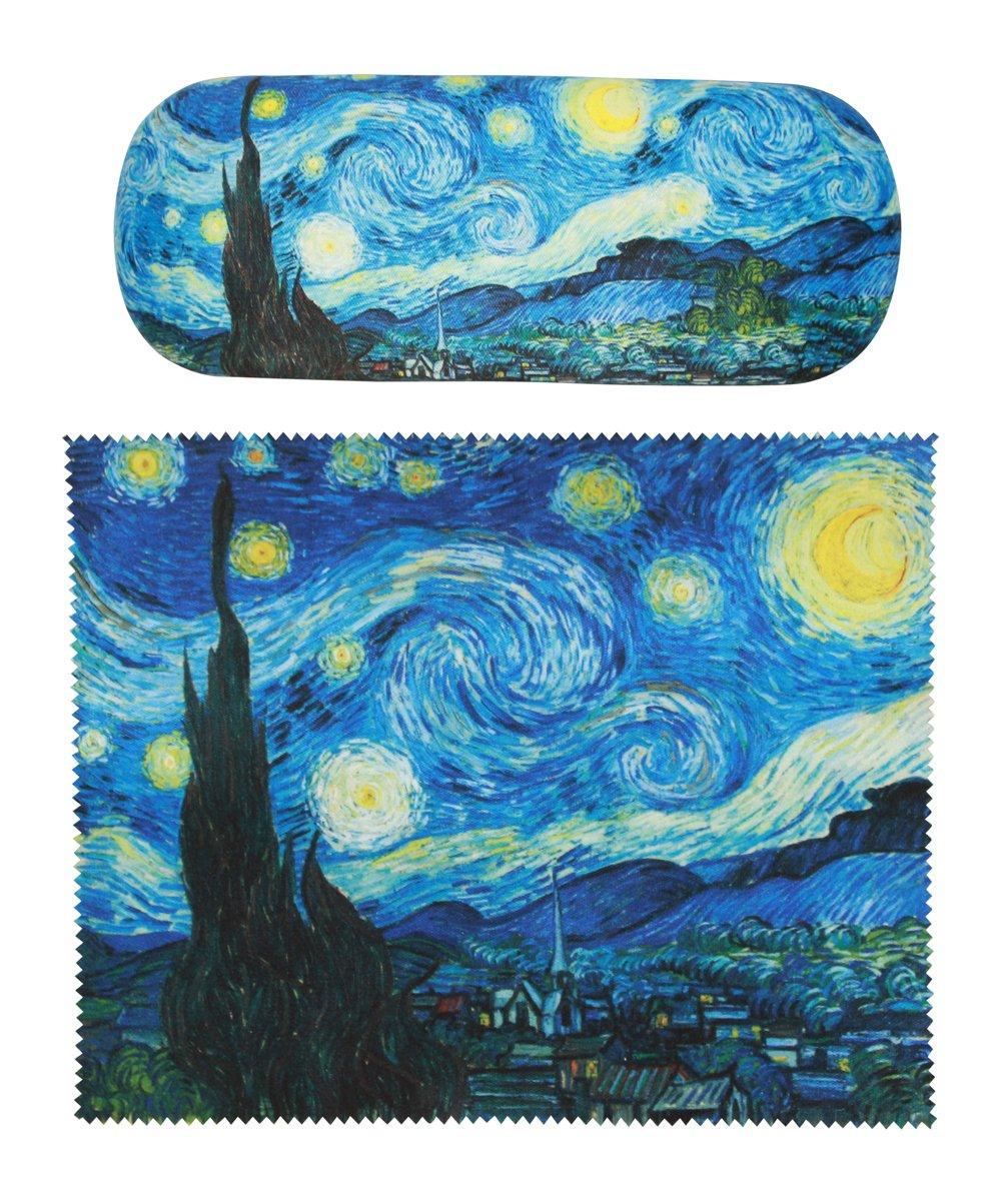 Van Gogh Starry Night painting Art premium quality eyeglass case and matching Starry Night Painting art microfiber eyeglasses cleaning cloth