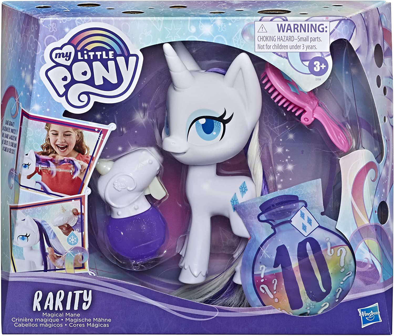 Amazon Com My Little Pony Magical Mane Rarity Toy 6 5 Hair Styling Pony Figure With Hair That Grows Changes Color 10 Surprise Accessories Toys Games