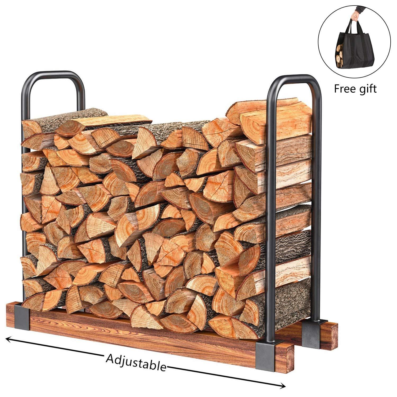 DOEWORKS Heavy Duty Firewood Racks Adjustable Length Log Bracket Rack Holder, Black