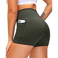 "Women's High Waist Yoga Shorts with Side Pockets Tummy Control Running Gym Workout Biker Shorts for Women 8"" /3"""