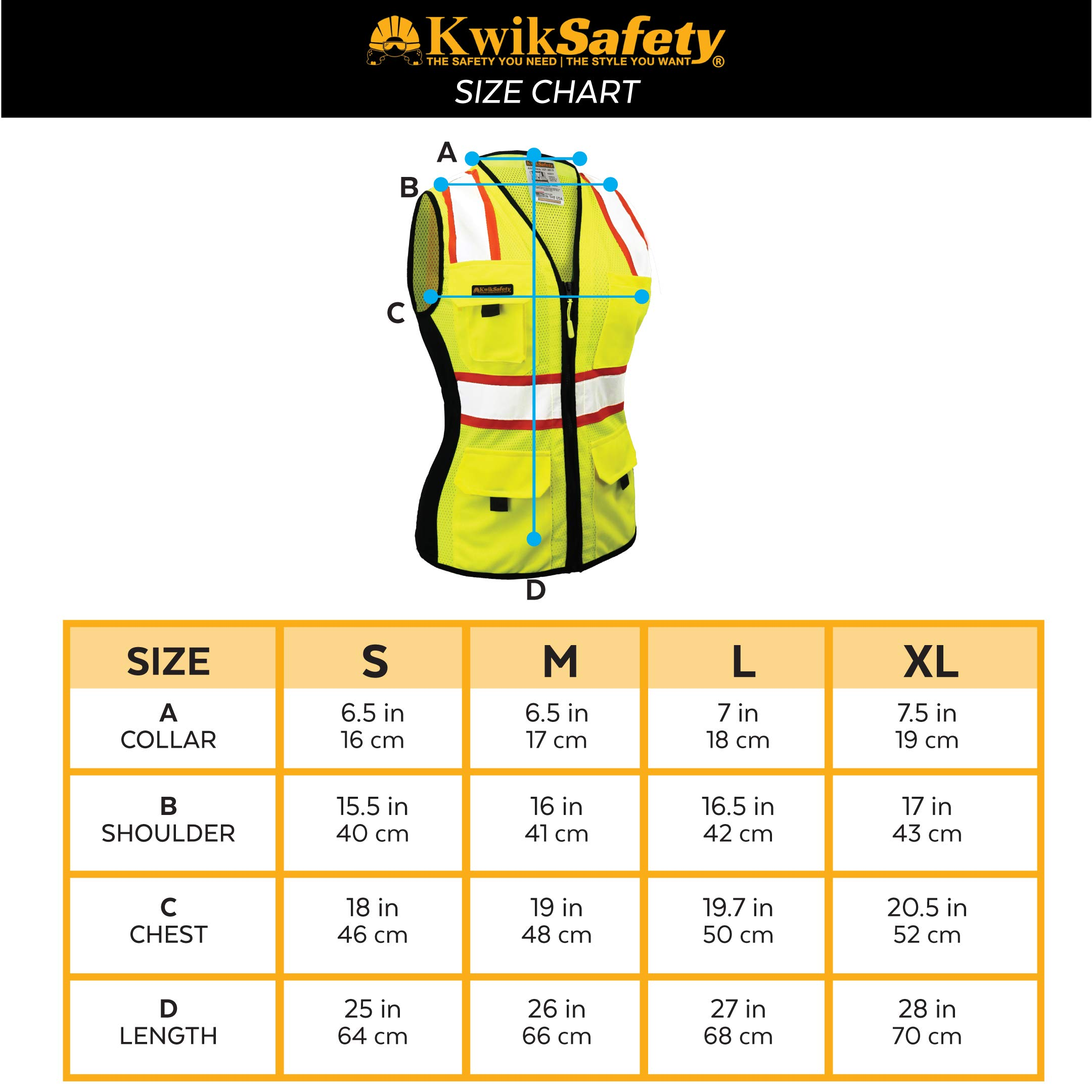 KwikSafety (Charlotte, NC) FIRST LADY Safety Vest for Women | Class 2 ANSI OSHA PPE | High Visibility Heavy Duty Mesh Pockets Zipper | Hi-Vis Construction Work Hi-Vis Surveyor Female | Yellow Large by KwikSafety (Image #5)