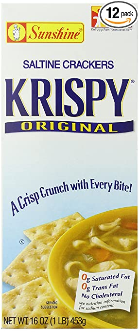 Krispy Saltine Crackers, Original, 16-Ounce Boxes (Pack of 12)