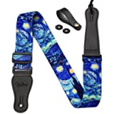 Van Gogh'Starry Night' Guitar Strap Includes Strap Button & 2 Strap Locks Shoulder Strap For Bass, Electric & Acoustic…