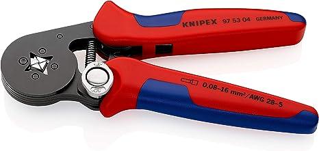 KNIPEX 97 53 04 Alicate autoajustable para entallar punteras de acceso lateral bruñido con fundas en dos componentes 180 mm: Amazon.es: Bricolaje y herramientas