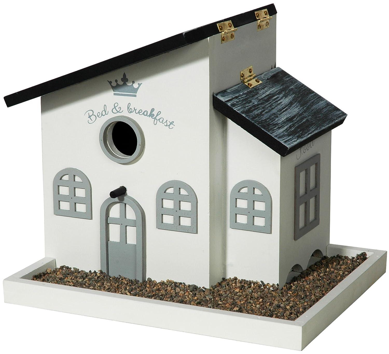 Luxus-Vogelhaus Detailreiches Design Vogelfutterhaus mit Kiesterrasse, Futterhaus weiߟ lackiert weiߟ lackiert 12282