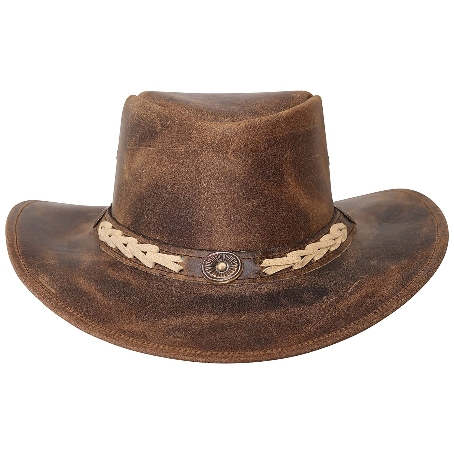 New Oily Finish Marron Leather Western Cowboy Hats Calgary with Free Chin Strap Sialkot
