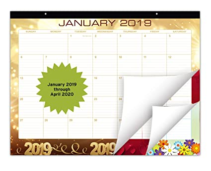 Large Festive Desk Calendar 2019 | January 2019 – April 2020 (16 Months) |  Monthly Planner with Beautiful Monthly Design | Desktop Organizer Pad for