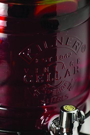 KILNER Dispensador de Bebida, Vidrio, Plateado, Talla única: Amazon.es: Hogar