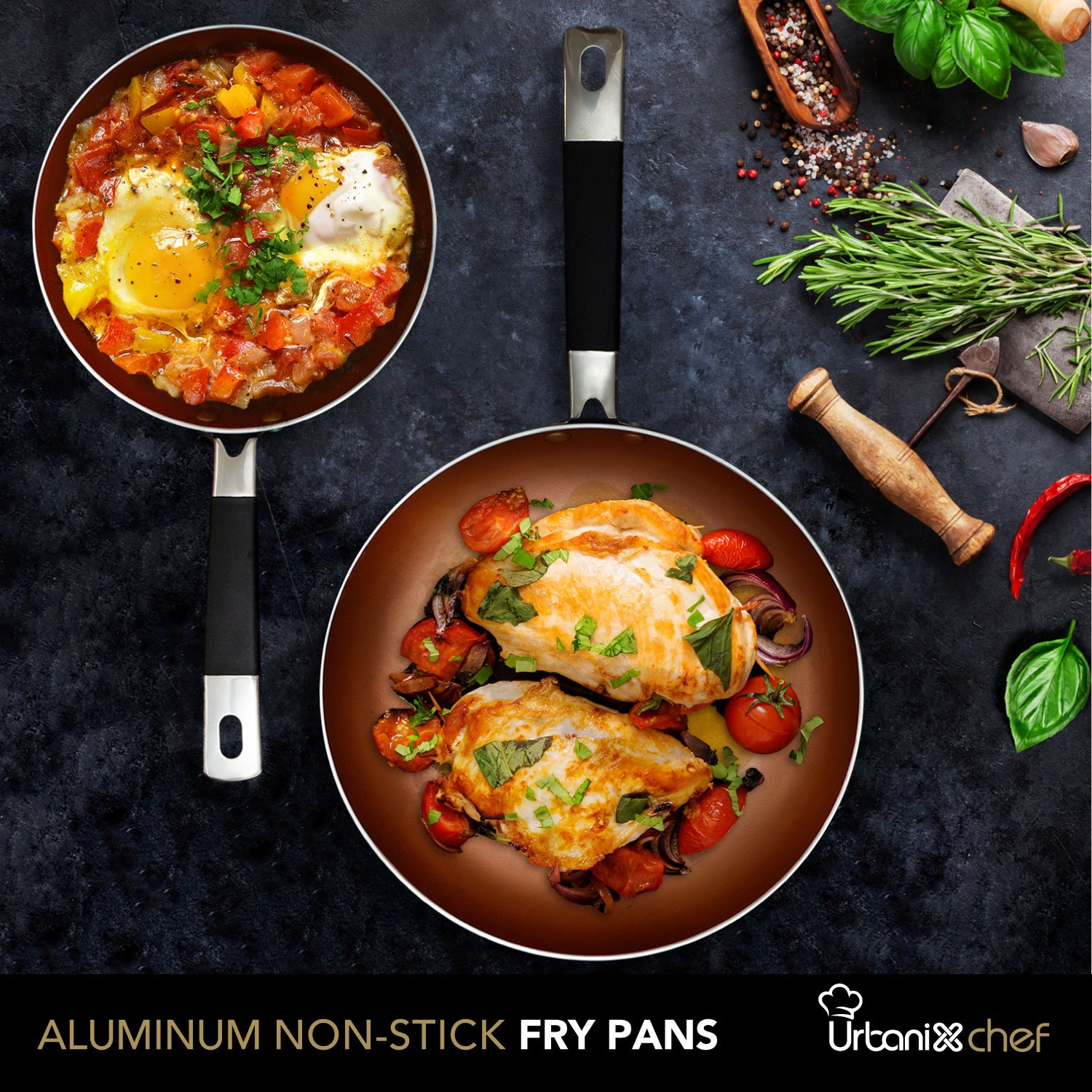 UrbanixChef Frying Pans . Superior German Greblon Non-stick Coating Copper Color. 2 Pcs - 8 and 10 Inch.100% PFOA Free,Induction Compatible , Oven Safe.  Bonus 3 pc.11 Inch Pan Protectors by URBANIX (Image #3)