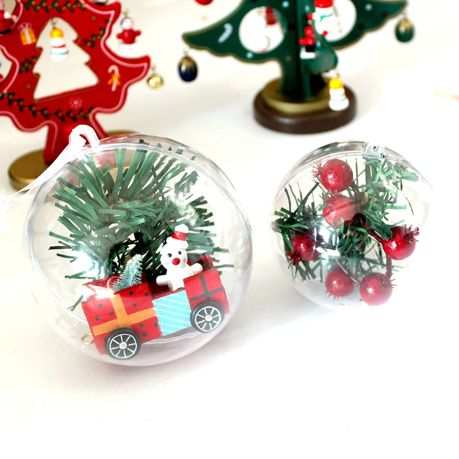 Amazon.com: UNIQLED Clear Plastic Fillable Christmas DIY Craft Ball ...