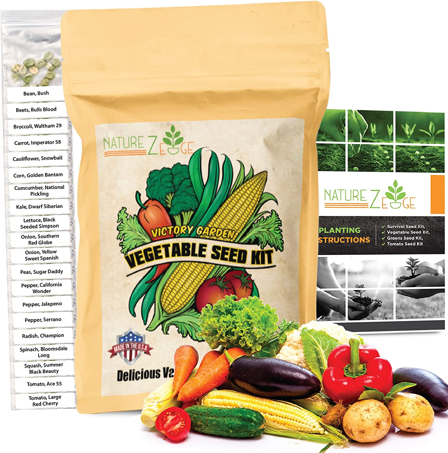 Vegetable Seeds- 5000 Seeds for Planting Vegetables, 20 Varieties of Non-GMO Plant Seeds, Tomato Seeds, Lettuce, Sugar Snap Peas, Green Bean Seeds, Peppers, Carrots, Cucumber, Onion and More.