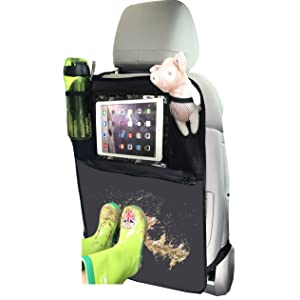 Kick Mat Car Organiser, Car Seat Back Protector with Clear iPad Holder by Termichy Waterproof Material (1pack)