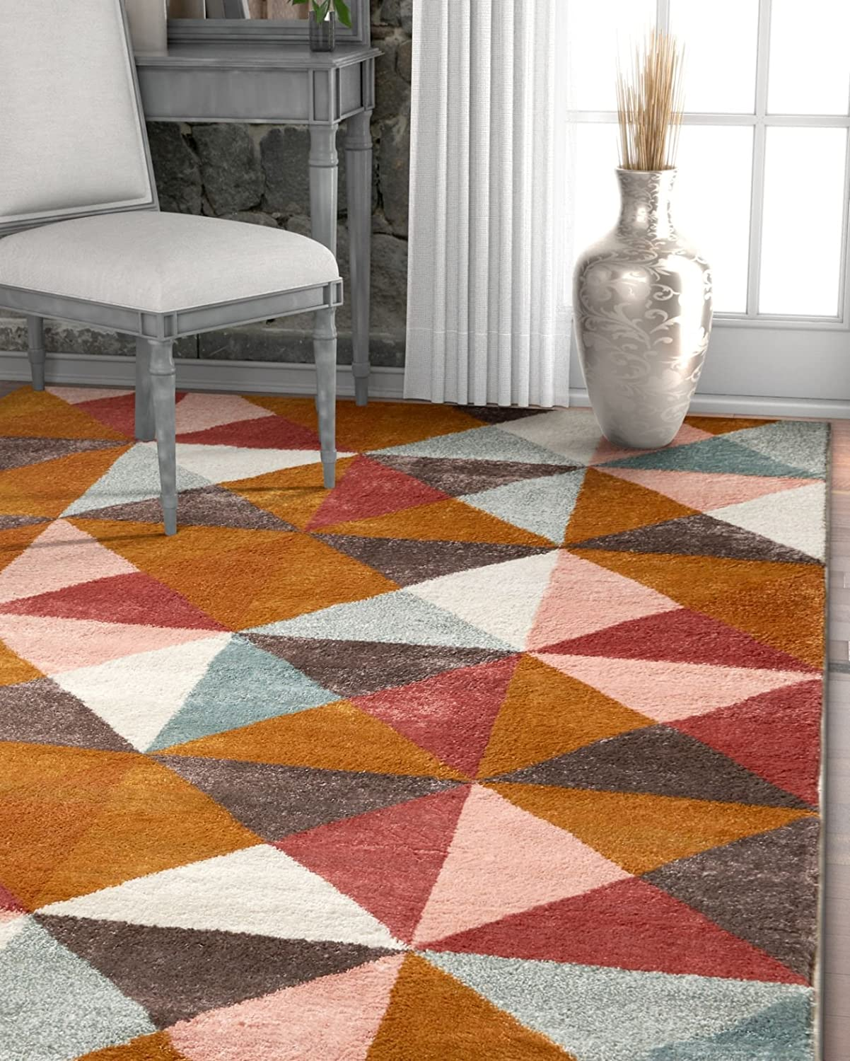 Amazon Com Well Woven Delancey Geometric Multi Red Area Rug 8x11 7 10 X 10 6 Soft Plush Modern Abstract Triangle Boxes Carpet Home Kitchen