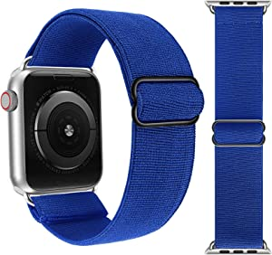 Adjustable Elastic Solo Loop Bands Compatible with Apple Watch 42mm 44mm Stretchy Sport Soft Strap Women Men Replacement Wristband for iWatch Series 6 SE 5 4 3 2 1 Royal Blue