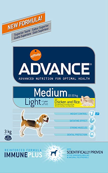 Affinity Advance Medium Light Pollo y Arroz para Perros - 3 kg: Amazon.es: Productos para mascotas