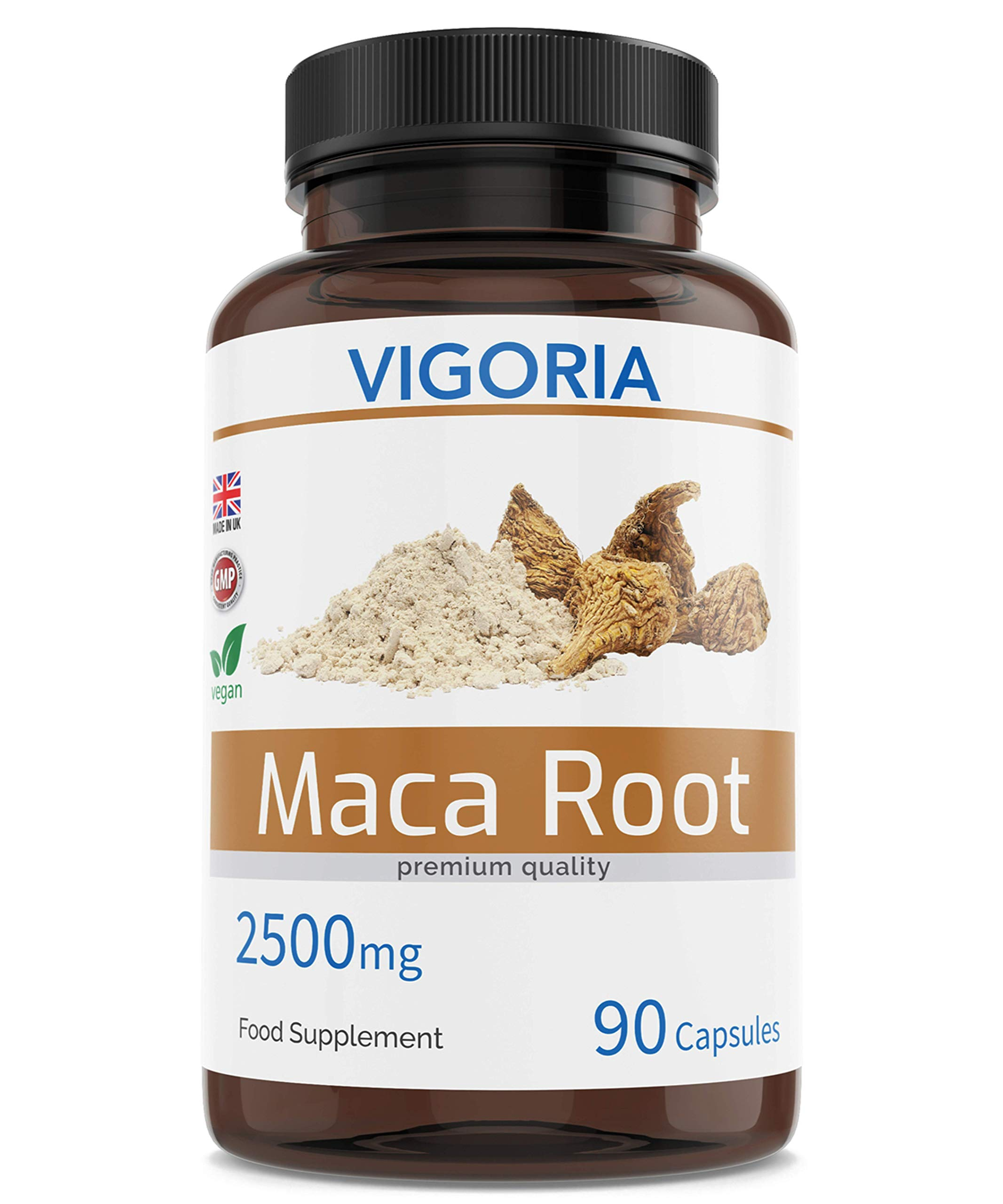 Maca for Energy Performance and Vitality - Plant-Based Peruvian Superfood for Men and Women's Stamina - 2500 mg 90 Capsules - Natural 10:1 Root Powder Extract - Vegan - GMO-Free | UK Made
