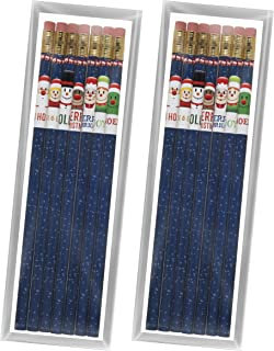 product image for Toys For Tots Holiday Pencil Set – Two 7-Packs of USA Made #2 Pencils (14 Pencils Total) with Fun Christmas Designs, perfect kid's gift stocking stuffer or for school, home or office