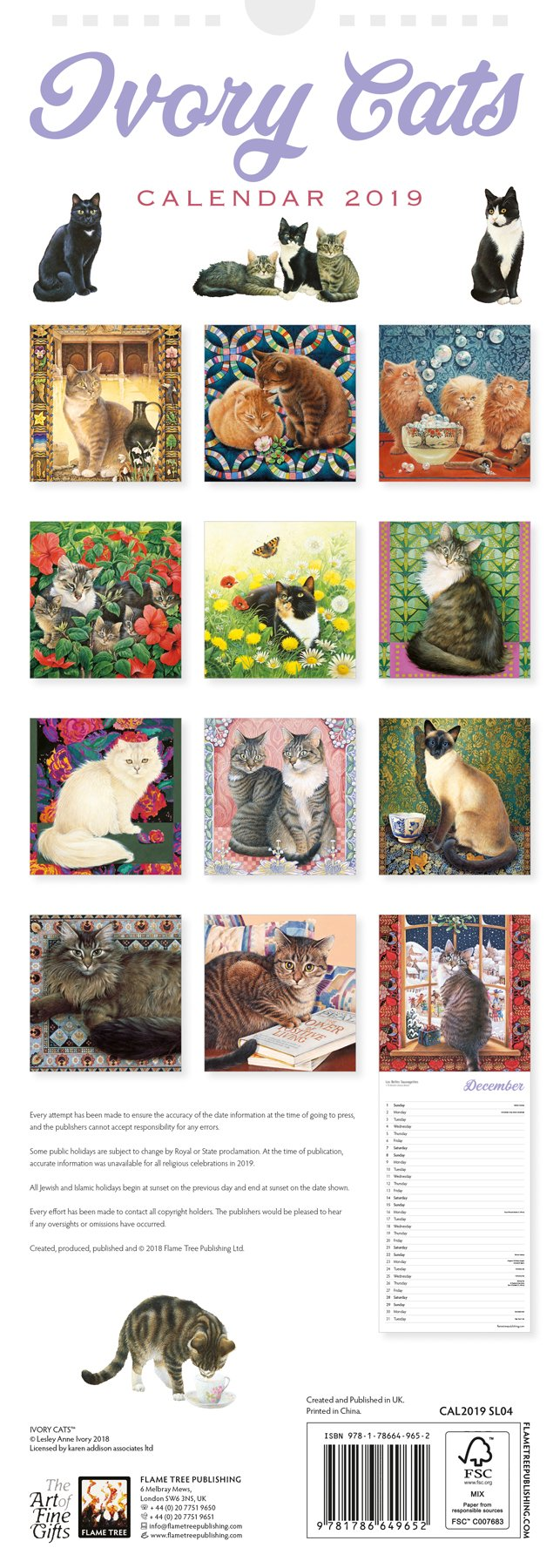 dce39aaf947 Ivory Cats slim calendar 2019 (Art Calendar)  Amazon.co.uk  Flame Tree  Studio  9781786649652  Books
