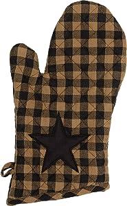 VHC Brands Primitive Tabletop Kitchen Black Fabric Loop Cotton Appliqued Star Oven Mitt, Raven