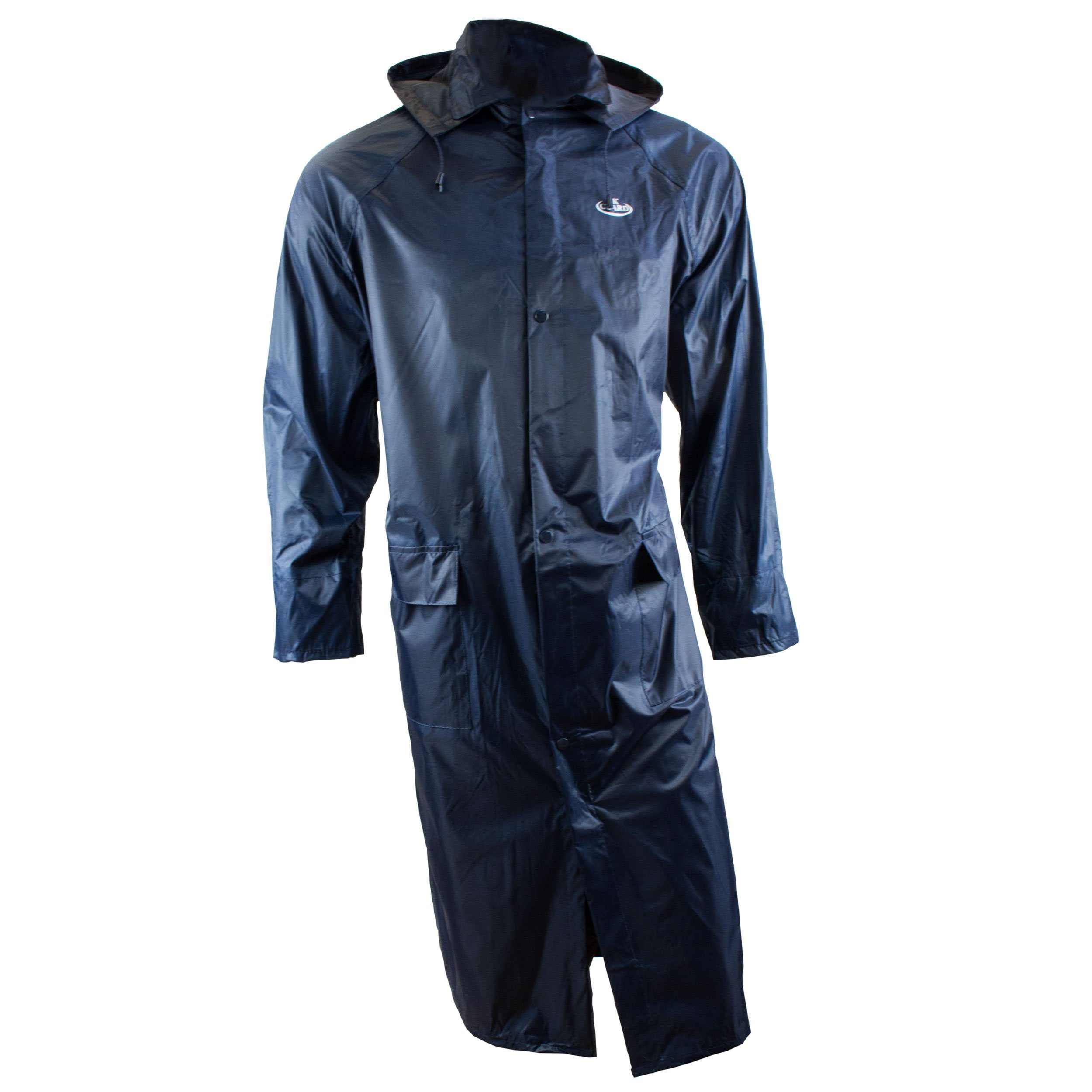 RK Safety RC-PP-NVY44 Navy PVC Polyester Trench Rain Long Coat With Hoodie(Navy, 2XL)