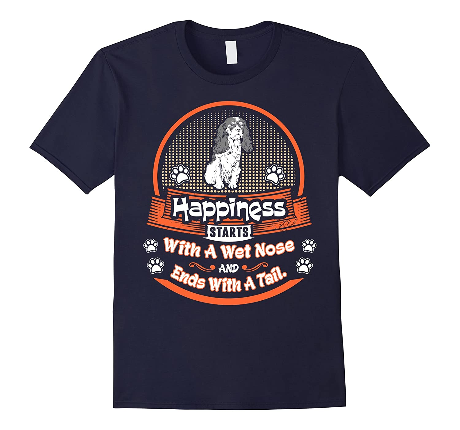 Happiness Starts Wet Nose Ends Tail Papillon Dog Tshirt-Art