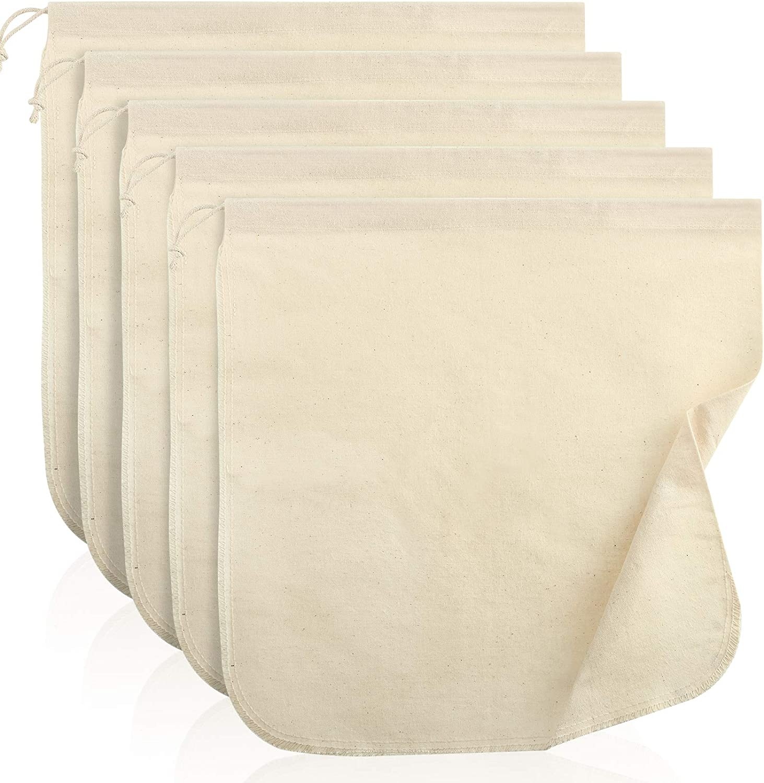 5 Pieces Nut Milk Bag,12 x 12 Inch, Reusable Multi-purpose Food Strainer Bag for Almond Milk, Juices, Oat Milk, Celery Juicing, Cheese, Yogurt, Cold Brew Coffee and Tea (Organic Material)