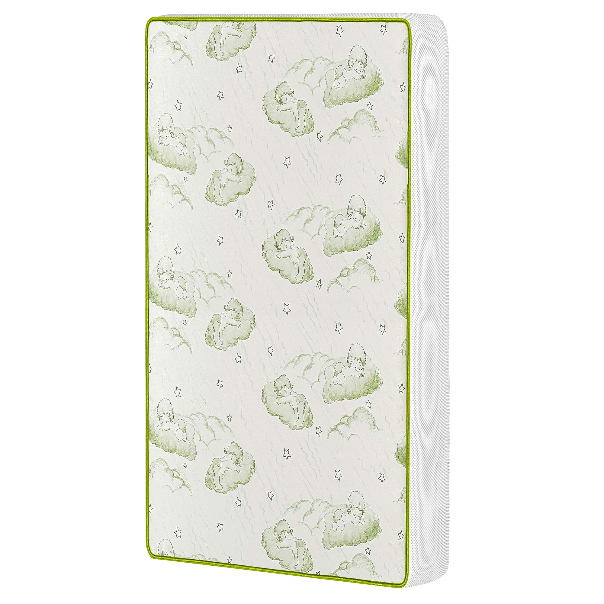 Dream On Me Breathable Two-Sided 3'' Pocket Coil Play Yard Mattress, White/Green by Dream On Me