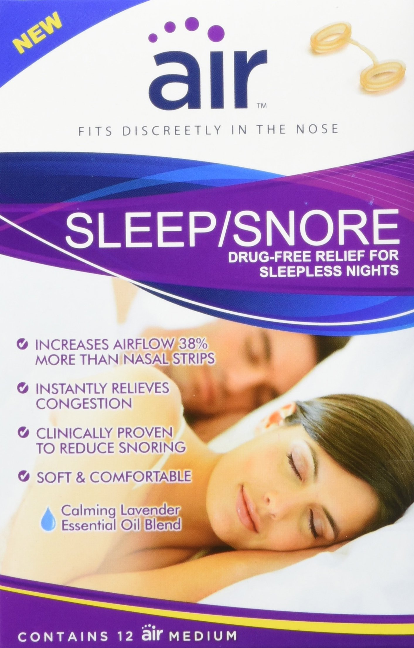 Air Sleep and Snore Advanced Nasal Breathing Aid, 12 Count