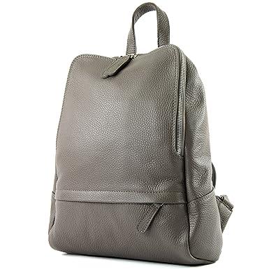 modamoda de - ital. Lederrucksack Damen Rucksack Rucksacktasche Citytasche Leder T138, Präzise Farbe:Senfgelb modamoda de - Made in Italy