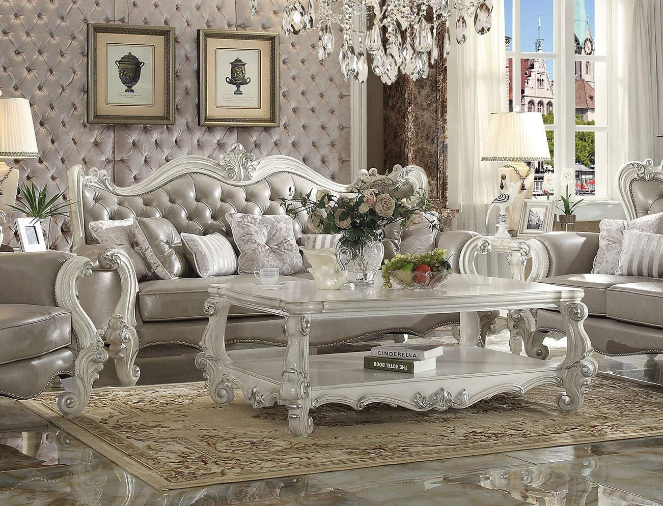 Amazon.com: Esofastore Luxurious Living Room Furniture 2pc Sofa & Loveseat Traditional Gray Sofa Set: Furniture & Decor