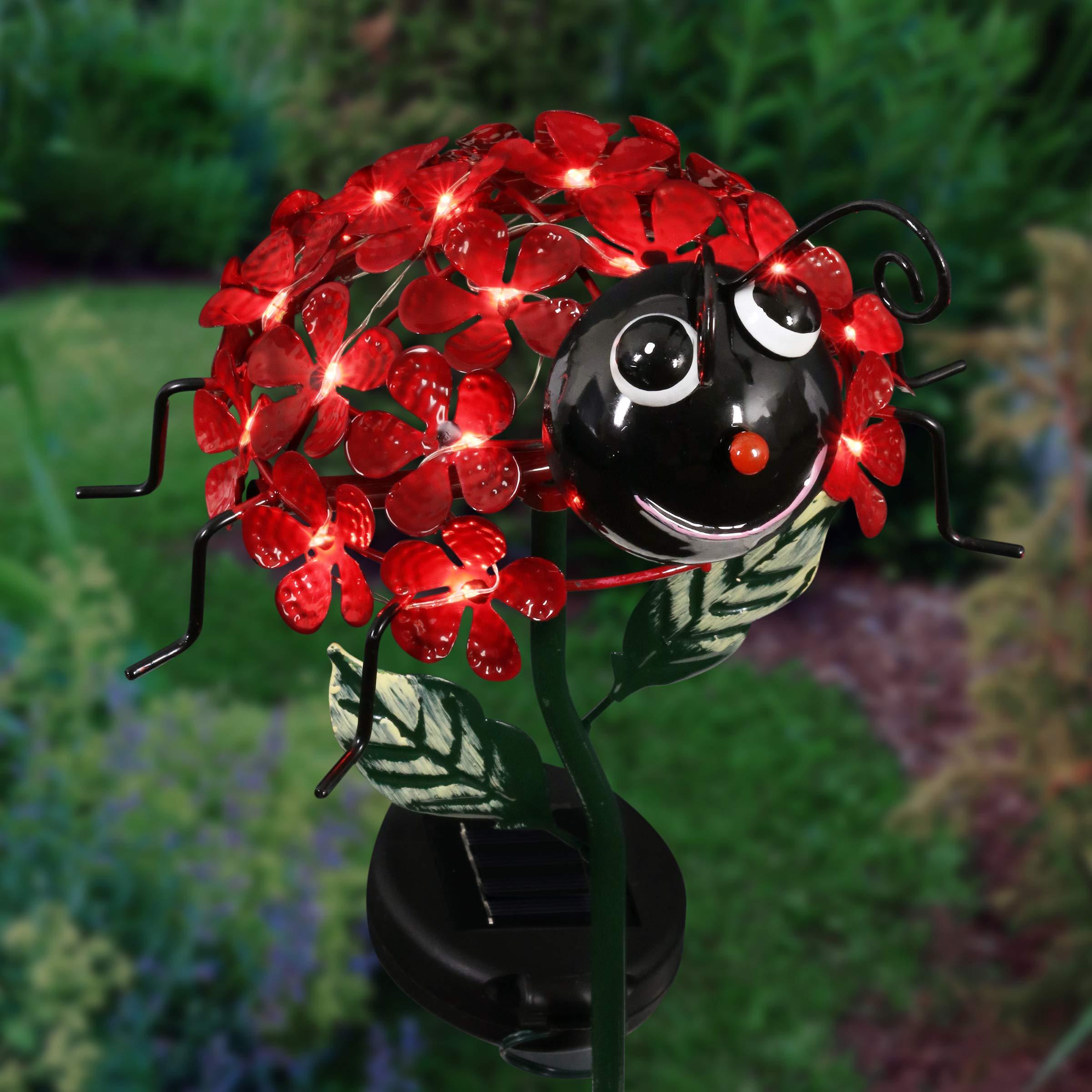 Exhart Ladybug Light Garden Stake - Red Ladybug on a Solar Flower Garden Stake - 21'' Metal Garden Stake w/ 26 LED Solar Lights on Red Flower Petals That Illuminate Your Ladybug Garden Decor