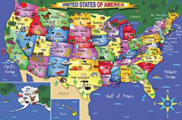 Amazoncom White Mountain Puzzles US Map Piece Jigsaw Puzzle - Amazon map of us