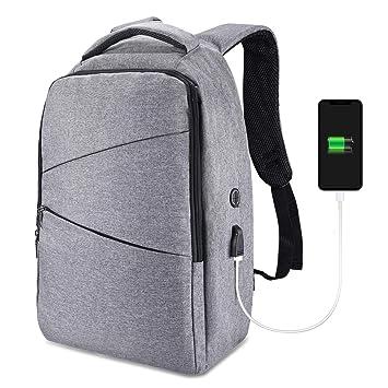 Mochila antirrobo, mochila portátil para negocios GIM con puerto de carga USB y puerto para