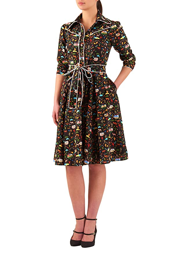 Plus Size Retro Dresses eShakti Womens Trailer house print crepe shirtdress $59.95 AT vintagedancer.com