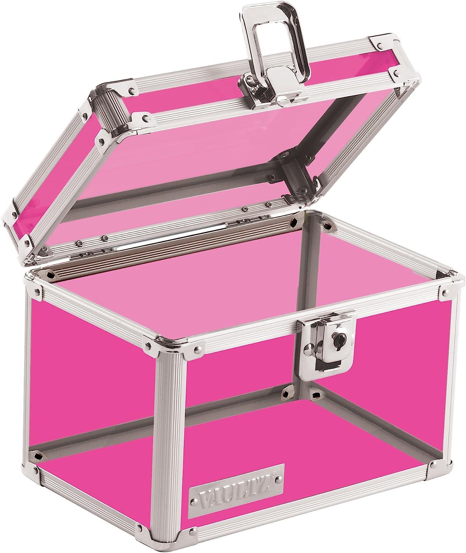 Vaultz Locking 4 x 6 Inch Index Card Box, Pink Acrylic (VZ00208)