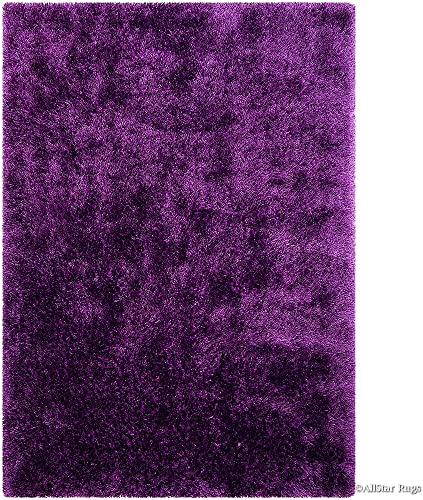 Allstar 8×11 Lilac Solid Modern and Contemporary Hand-Tufted Rectangular Shag Accent Rug 7' 6″ x 10' 4″
