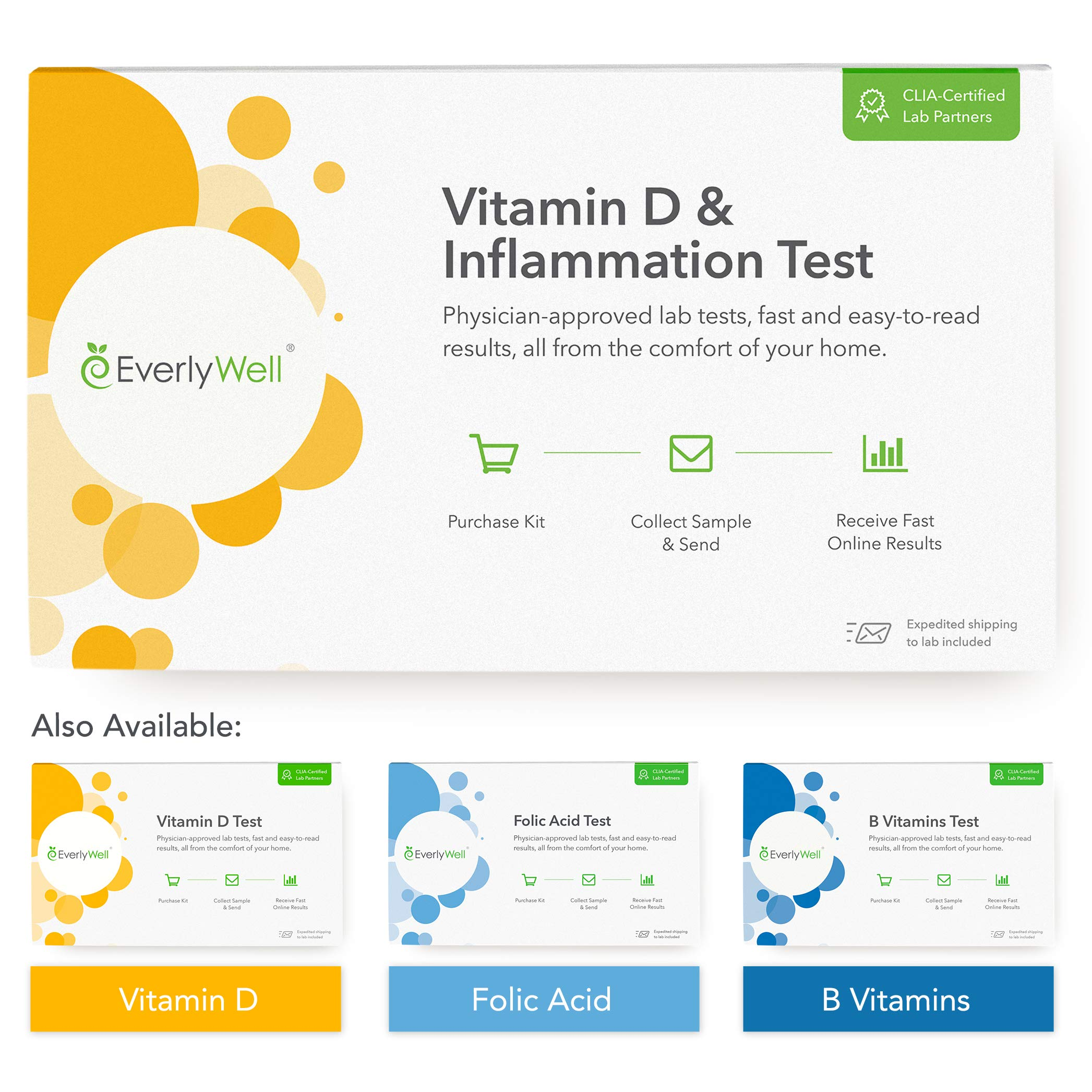 EverlyWell - at-Home Vitamin D & Inflammation Tests - Learn Your Vitamin D Levels and Check for Inflammation in Your Body (Not Available in MD,NY, NJ, RI) by Everly Well
