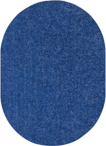 Home Queen Pet Friendly Solid Color Area Rugs Royal, 8 x 10 Oval