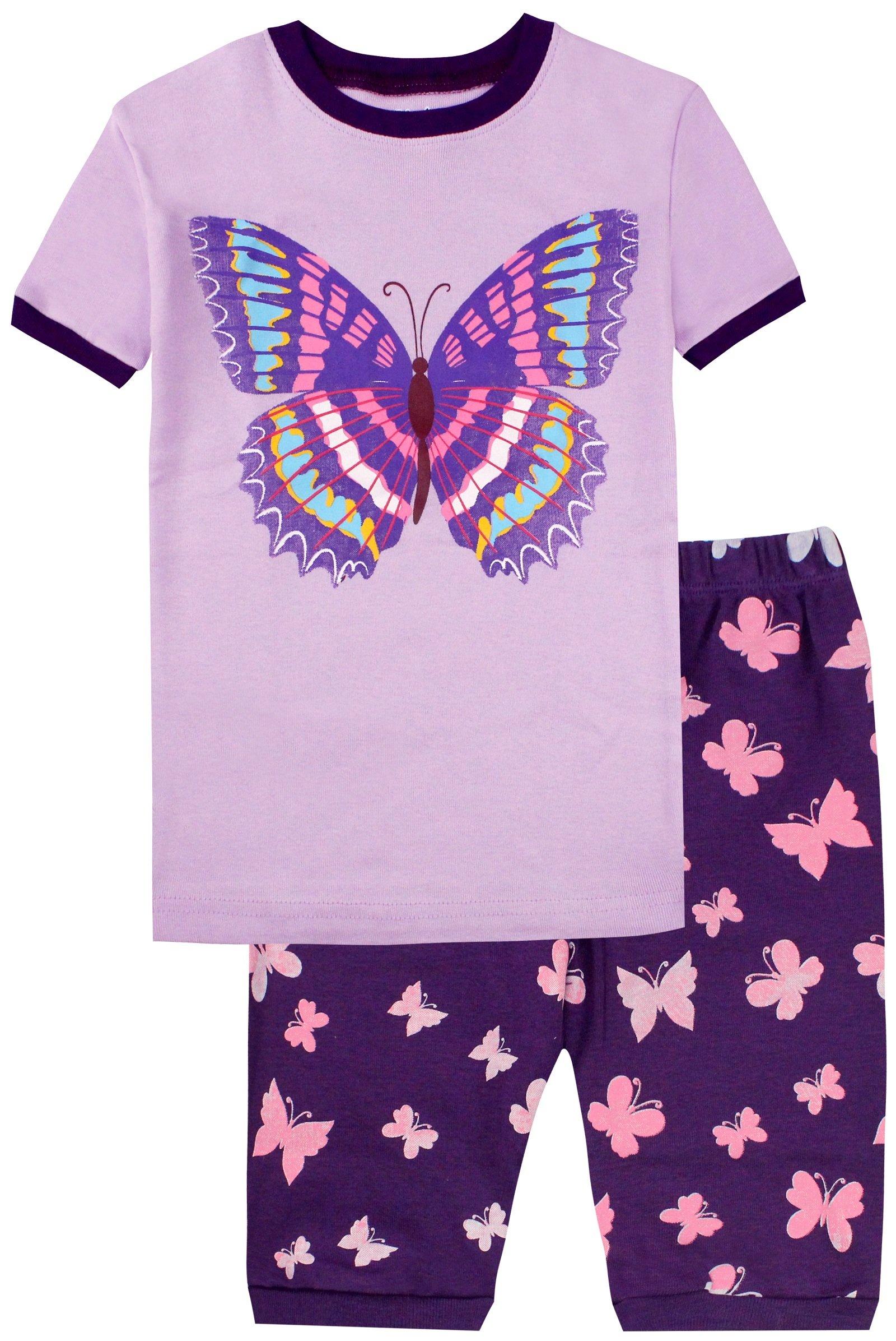 Girls Pajamas Set Summer Butterfly Cartoon Printed Sleepwear Kids PJS Set 5Y