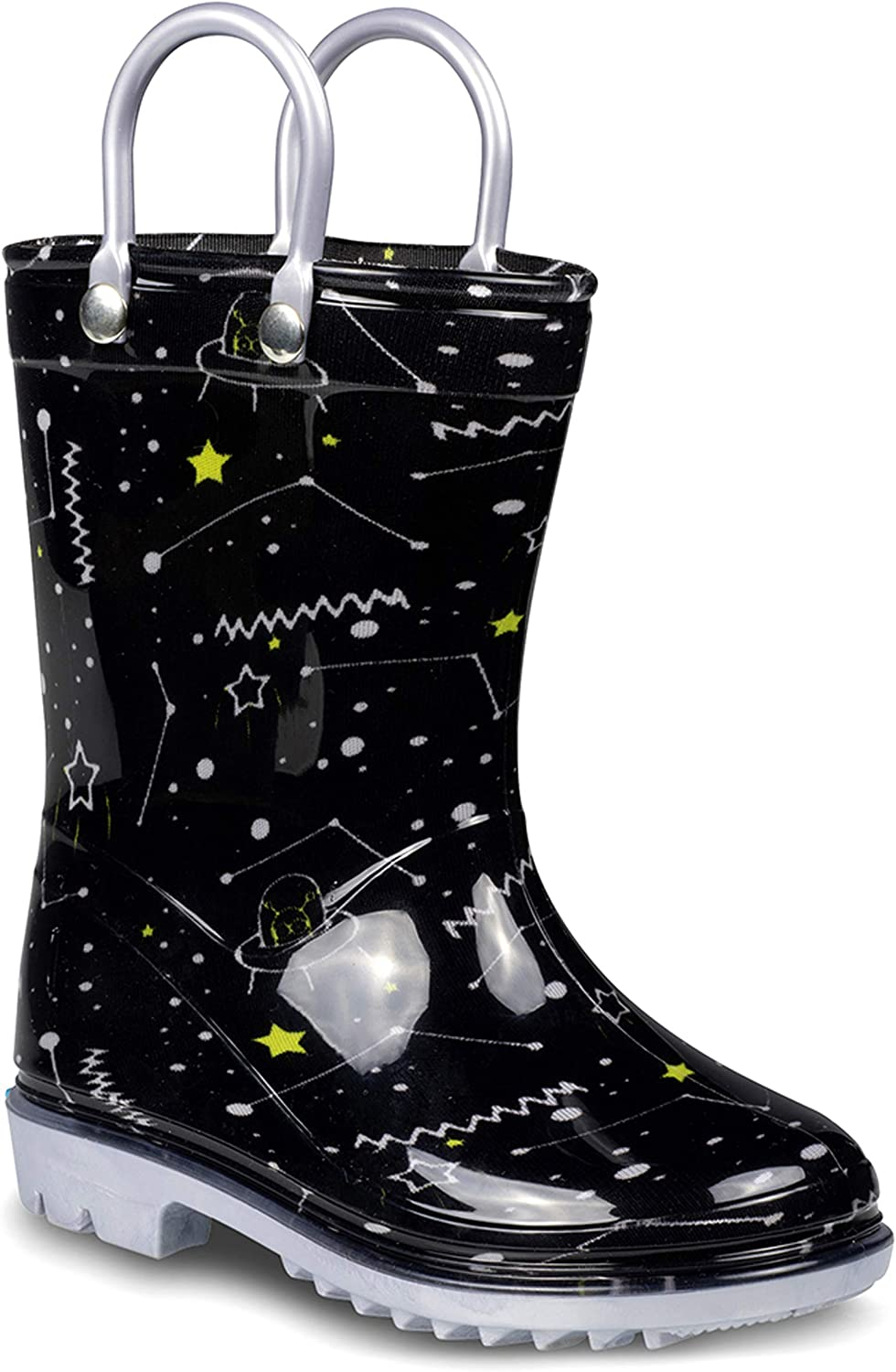 ZOOGS Printed Kids Toddler Rain Boots for Girls and Boys,Space Black ,7